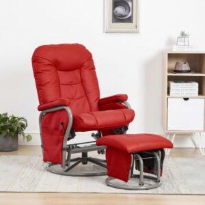 Cadeira reclinável c/ apoio pés couro artificial vermelho - PORTES GRÁTIS