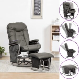 Cadeira massagens reclin. + apoio pés couro artificial cinzento - PORTES GRÁTIS