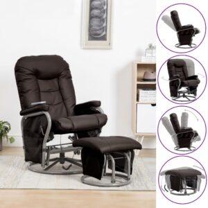 Cadeira massagens reclin. + apoio pés couro artificial castanho - PORTES GRÁTIS