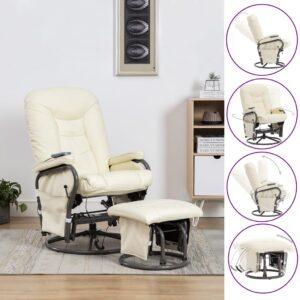 Cadeira massagens reclin. + apoio pés couro artificial creme - PORTES GRÁTIS
