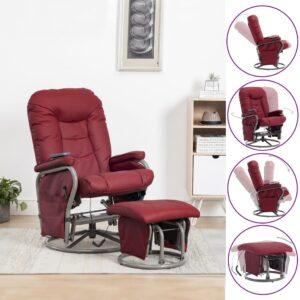 Cadeira massagens rec. + apoio pés couro artif. vermelho tinto - PORTES GRÁTIS