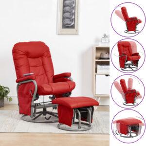 Cadeira massagens reclin. + apoio pés couro artificial vermelho - PORTES GRÁTIS