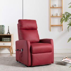 Poltrona reclin./elevatória elétrica couro art. vermelho tinto - PORTES GRÁTIS