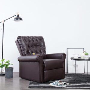 Cadeira massagens reclinável couro artificial castanho - PORTES GRÁTIS