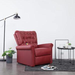 Cadeira massagens reclinável couro artificial vermelho tinto - PORTES GRÁTIS