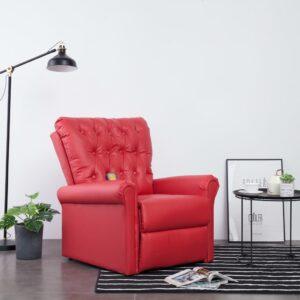 Cadeira massagens reclinável couro artificial vermelho - PORTES GRÁTIS