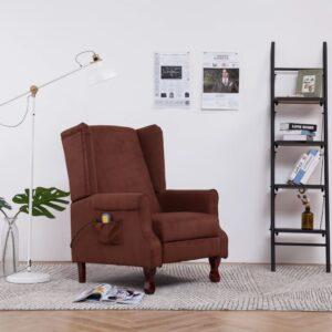 Cadeira de massagens reclinável tecido castanho - PORTES GRÁTIS