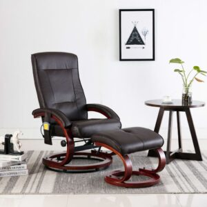 Cadeira massagens reclinável + apoio pés couro artif. castanho - PORTES GRÁTIS