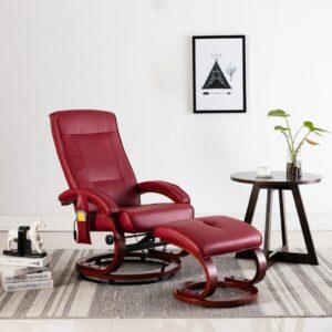 Cadeira massagens + apoio pés couro artif. vermelho tinto - PORTES GRÁTIS