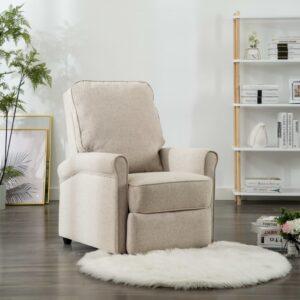 Cadeira de TV reclinável tecido creme - PORTES GRÁTIS