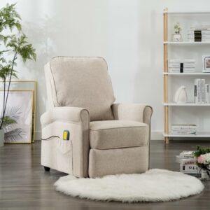 Cadeira de massagens reclinável tecido creme - PORTES GRÁTIS