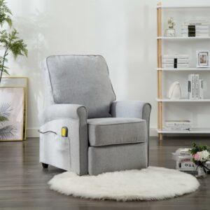 Cadeira de massagens reclinável tecido cinzento-claro - PORTES GRÁTIS