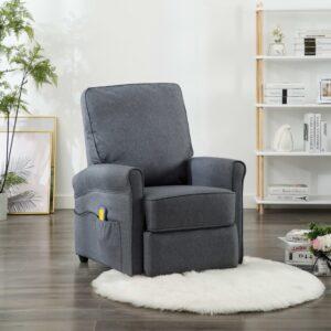 Cadeira de massagens reclinável tecido cinzento-escuro - PORTES GRÁTIS