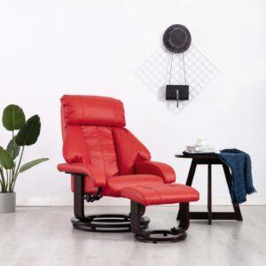 Cadeira TV reclinável c/ apoio de pés couro artificial vermelho - PORTES GRÁTIS