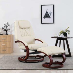 Cadeira reclinável c/ apoio de pés couro artificial branco nata - PORTES GRÁTIS