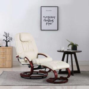 Cadeira massagens reclinável + apoio pés couro artif. creme - PORTES GRÁTIS