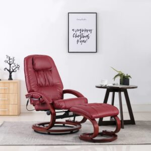 Cadeira de massagens + apoio pés couro artif. vermelho tinto - PORTES GRÁTIS