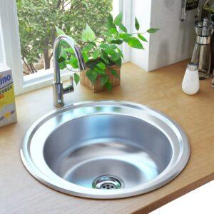 Lava-louças de cozinha com ralo e sifão aço inoxidável - PORTES GRÁTIS