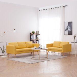 2 pcs conjunto de sofás tecido amarelo - PORTES GRÁTIS