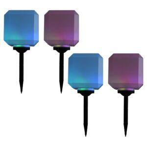 Candeeiro de exterior solar LED 4 pcs cúbico 20 cm RGB - PORTES GRÁTIS