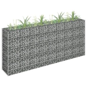 Gabião para plantas em aço galvanizado 180x30x90 cm - PORTES GRÁTIS