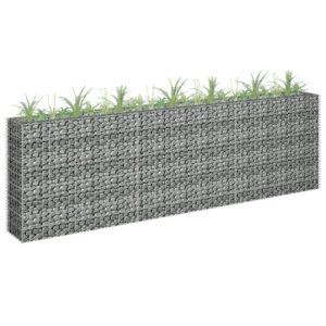 Gabião para plantas em aço galvanizado 270x30x90 cm - PORTES GRÁTIS