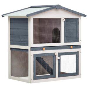 Coelheira de exterior 3 portas madeira cinzento - PORTES GRÁTIS