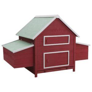 Galinheiro 157x97x110 cm madeira vermelho - PORTES GRÁTIS