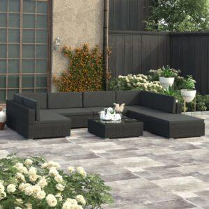 8 pcs conjunto lounge de jardim c/ almofadões vime PE preto - PORTES GRÁTIS