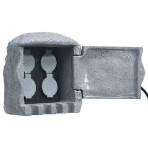 Unidade 4 tomadas c/ controlo remoto resina poliéster cinzento - PORTES GRÁTIS