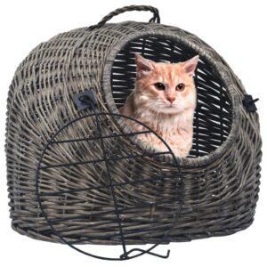 Transportadora p/ gatos 60x45x45 cm salgueiro natural cinzento - PORTES GRÁTIS
