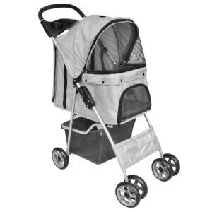 Carrinho transportador dobrável para cães ou gatos cinzento - PORTES GRÁTIS