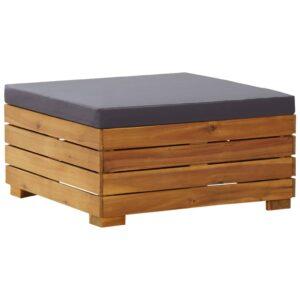 Apoio para pés seccional com almofadão madeira de acácia maciça - PORTES GRÁTIS