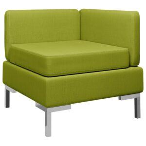 Sofá de canto seccional c/ almofadão tecido verde - PORTES GRÁTIS