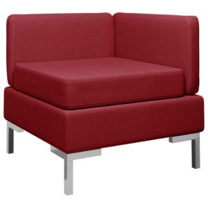 Sofá de canto seccional c/ almofadão tecido vermelho tinto - PORTES GRÁTIS