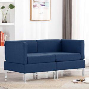 Sofás de canto seccionais com almofadões 2 pcs tecido azul - PORTES GRÁTIS