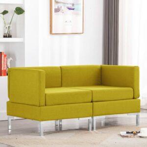 Sofás de canto seccionais com almofadões 2 pcs tecido amarelo - PORTES GRÁTIS