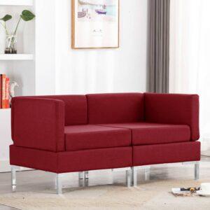 Sofás canto seccionais + almofadões 2 pcs tecido vermelho tinto - PORTES GRÁTIS