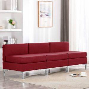 Sofás centro seccio. com almofadões 3 pcs tecido vermelho tinto - PORTES GRÁTIS