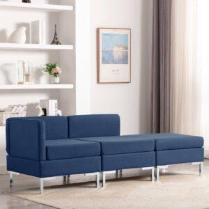 3 pcs conjunto de sofás tecido azul - PORTES GRÁTIS