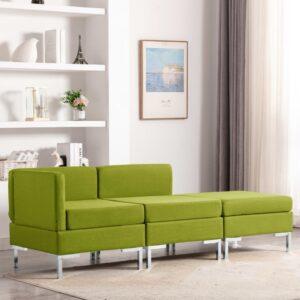 3 pcs conjunto de sofás tecido verde - PORTES GRÁTIS
