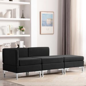 3 pcs conjunto de sofás tecido preto - PORTES GRÁTIS
