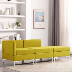 3 pcs conjunto de sofás tecido amarelo - PORTES GRÁTIS