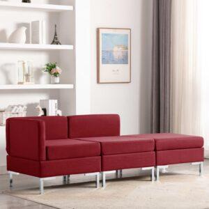 3 pcs conjunto de sofás tecido vermelho tinto - PORTES GRÁTIS