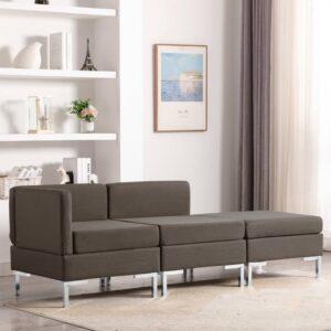 3 pcs conjunto de sofás tecido cinzento-acastanhado - PORTES GRÁTIS