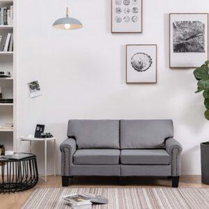 Sofá de 2 lugares em tecido cinzento-claro - PORTES GRÁTIS