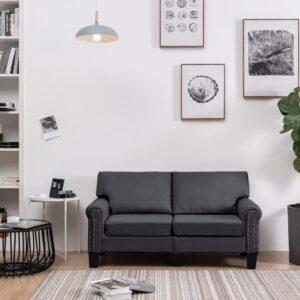 Sofá de 2 lugares em tecido cinzento-escuro - PORTES GRÁTIS