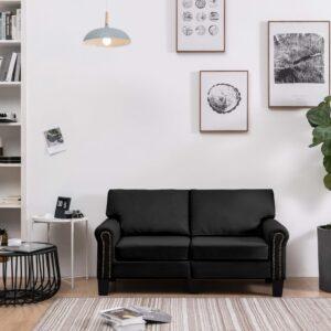 Sofá de 2 lugares em tecido preto - PORTES GRÁTIS