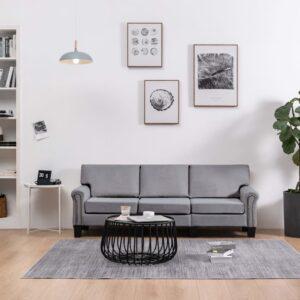 Sofá de 3 lugares em tecido cinzento-claro - PORTES GRÁTIS