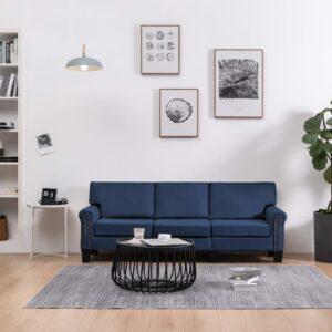 Sofá de 3 lugares em tecido azul - PORTES GRÁTIS